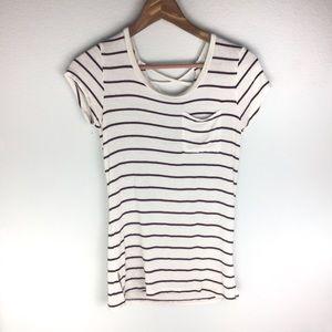 🌛Striped top w crisscross back size small